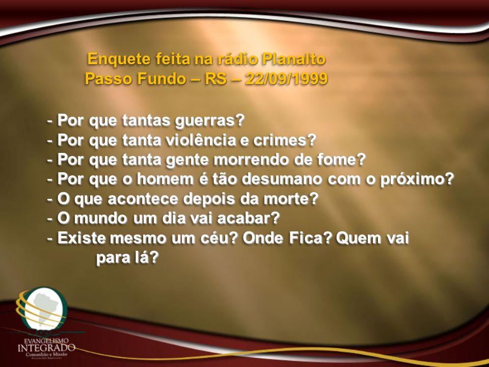 Enquete feita na rádio Planalto Passo Fundo – RS – 22/09/1999 - Por que tantas guerras? - Por que tanta violência e crimes? - Por que tanta gente morr