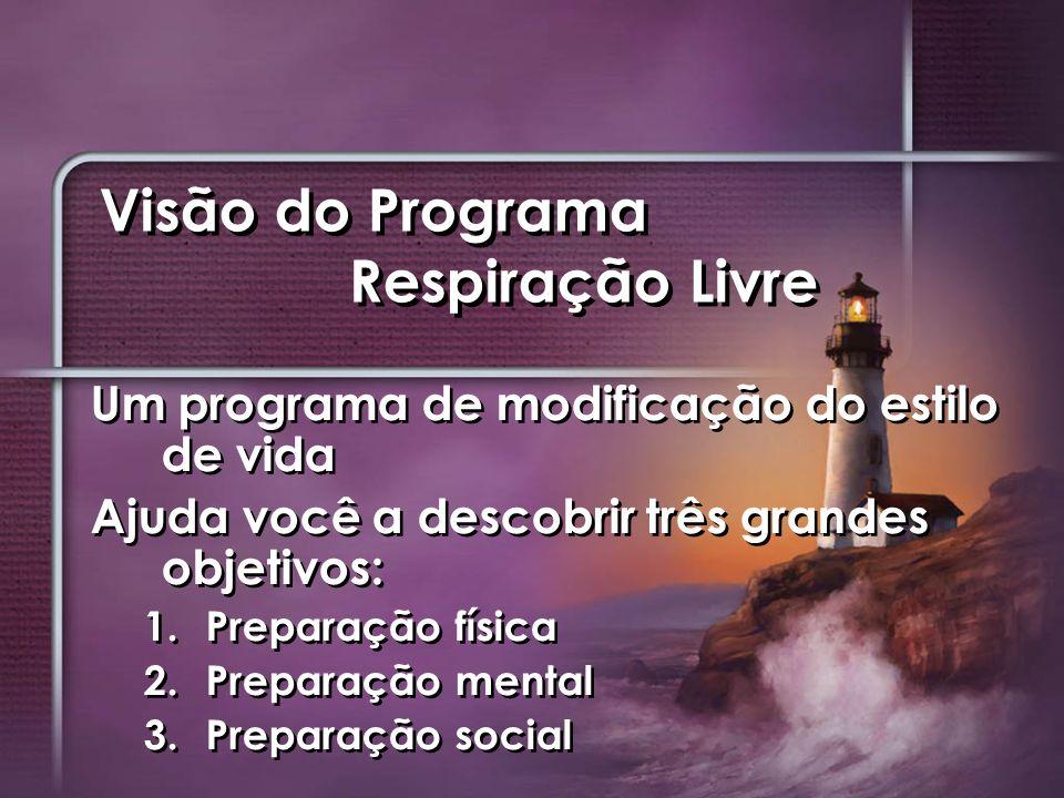 Visão do Programa Respiração Livre Um programa de modificação do estilo de vida Ajuda você a descobrir três grandes objetivos: 1. 1.Preparação física