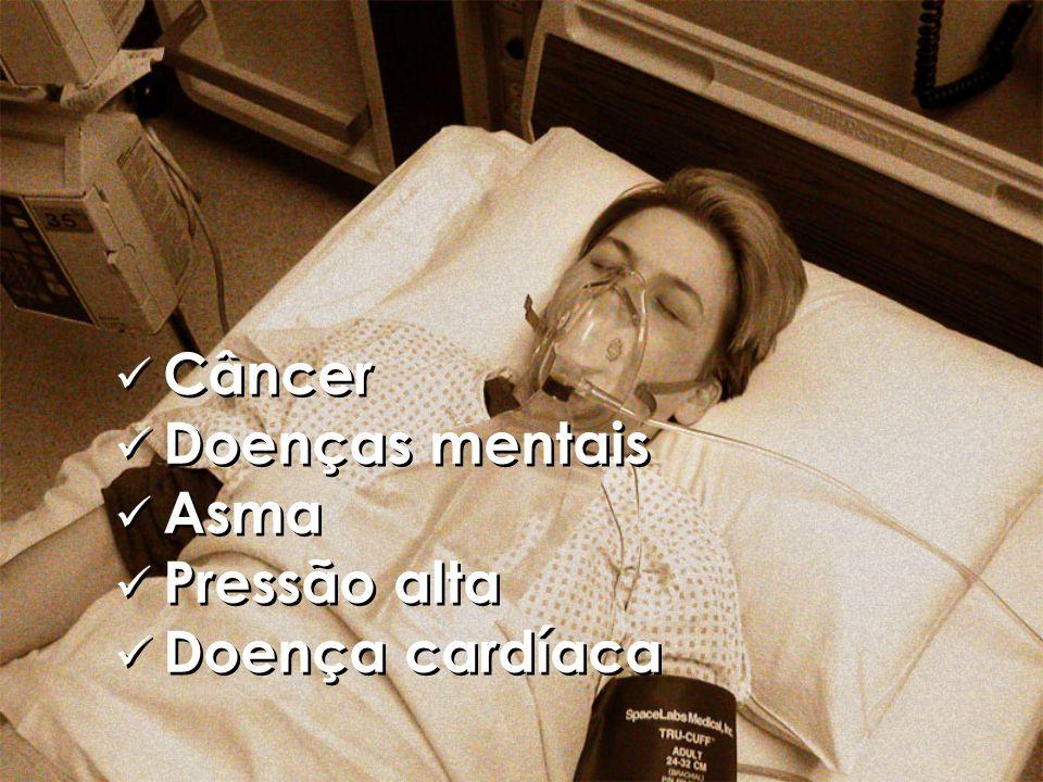 Câncer Doenças mentais Asma Pressão alta Doença cardíaca Câncer Doenças mentais Asma Pressão alta Doença cardíaca