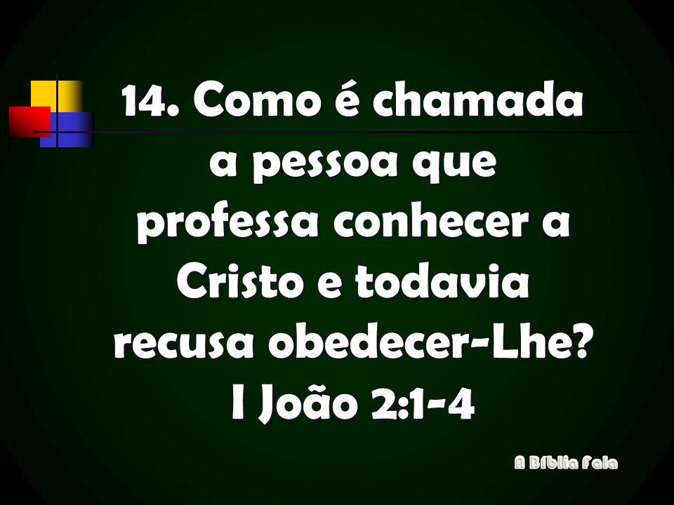14. Como é chamada a pessoa que professa conhecer a Cristo e todavia recusa obedecer-Lhe? I João 2:1-4