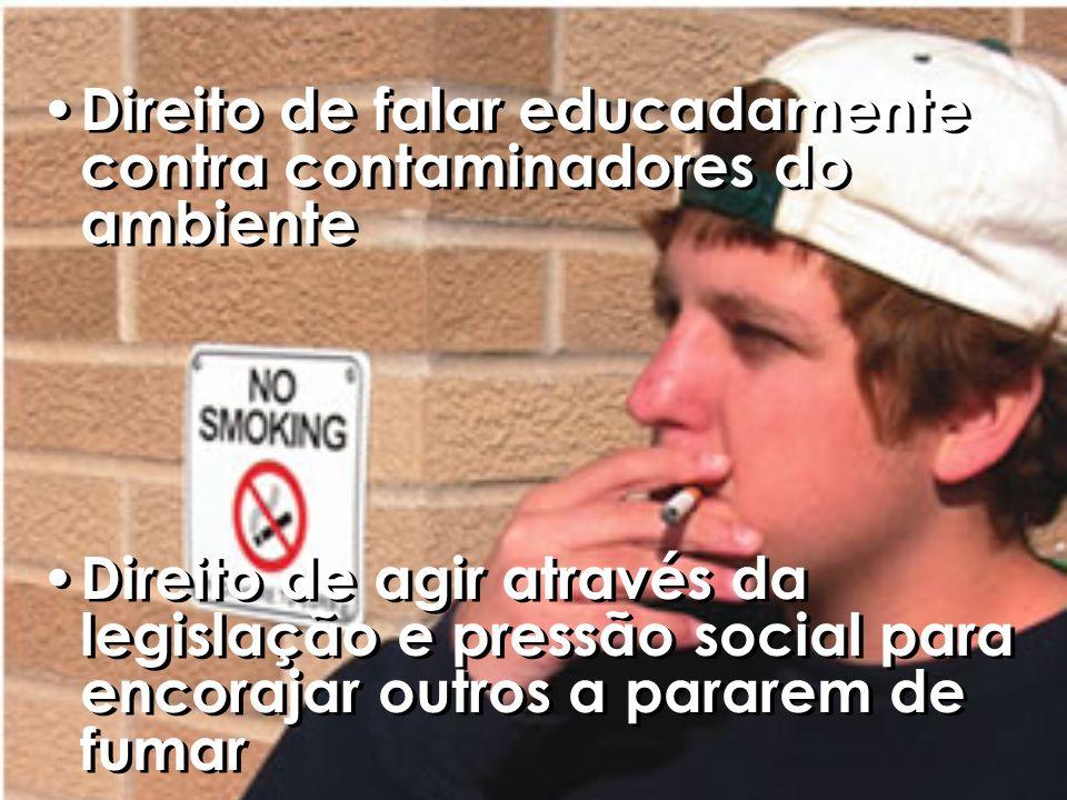 Direito de falar educadamente contra contaminadores do ambiente Direito de agir através da legislação e pressão social para encorajar outros a pararem