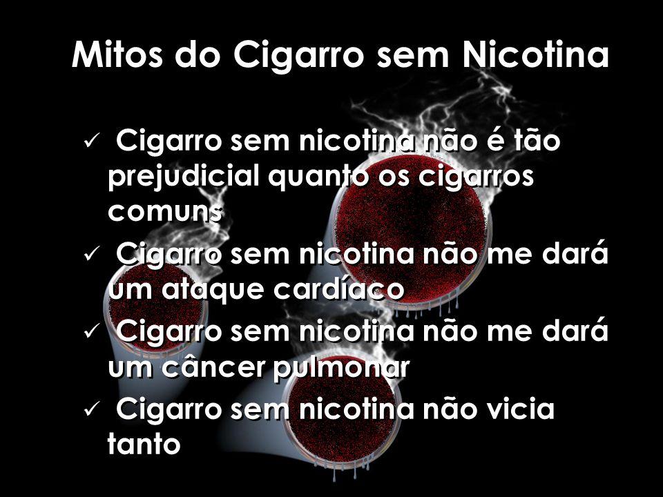 Mitos do Cigarro sem Nicotina Cigarro sem nicotina não é tão prejudicial quanto os cigarros comuns Cigarro sem nicotina não me dará um ataque cardíaco