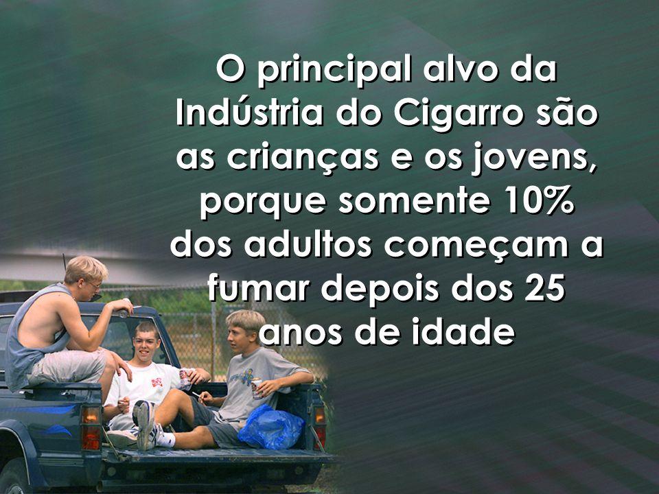 O principal alvo da Indústria do Cigarro são as crianças e os jovens, porque somente 10% dos adultos começam a fumar depois dos 25 anos de idade