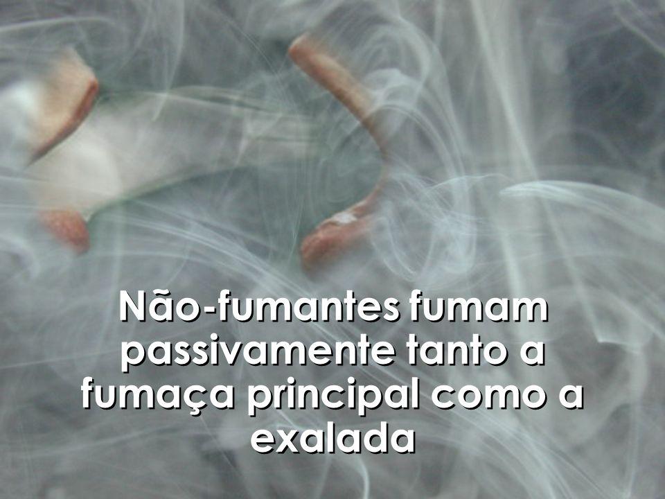 Não-fumantes fumam passivamente tanto a fumaça principal como a exalada