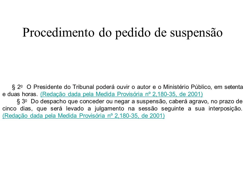 Procedimento do pedido de suspensão § 2 o O Presidente do Tribunal poderá ouvir o autor e o Ministério Público, em setenta e duas horas. (Redação dada