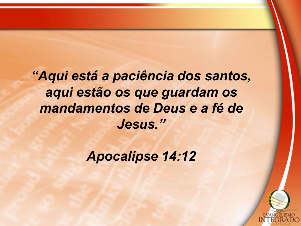 Aqui está a paciência dos santos, aqui estão os que guardam os mandamentos de Deus e a fé de Jesus. Apocalipse 14:12