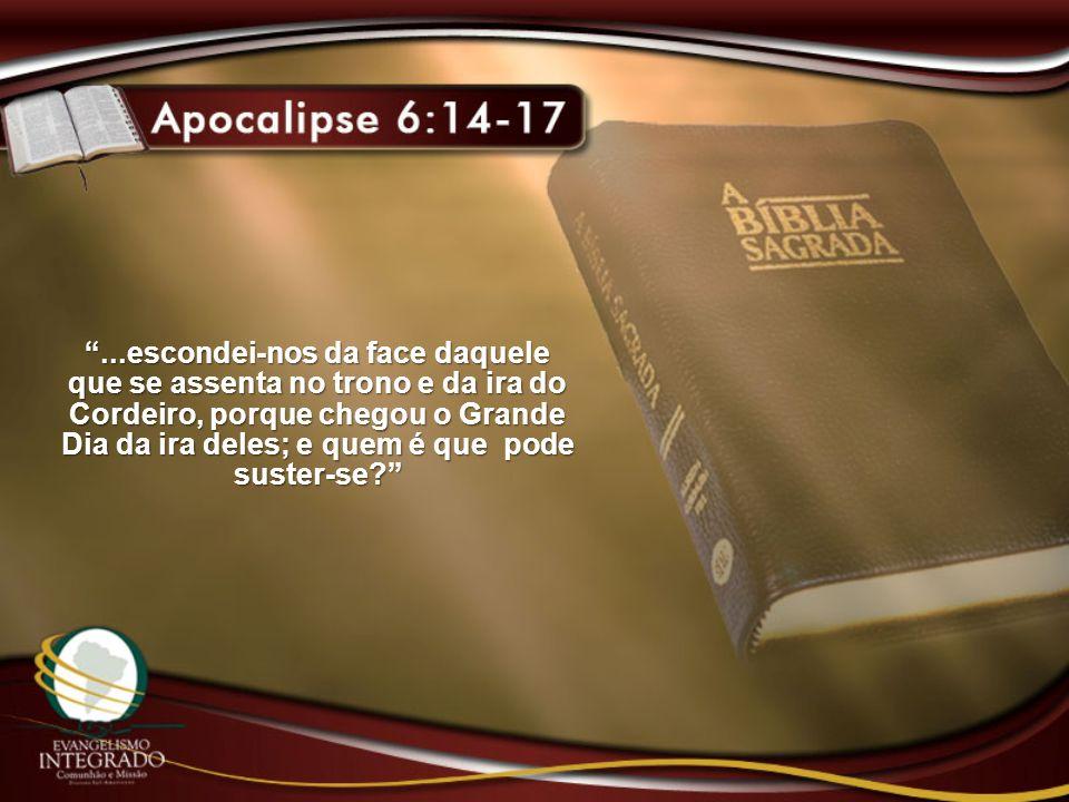 ...escondei-nos da face daquele que se assenta no trono e da ira do Cordeiro, porque chegou o Grande Dia da ira deles; e quem é que pode suster-se?