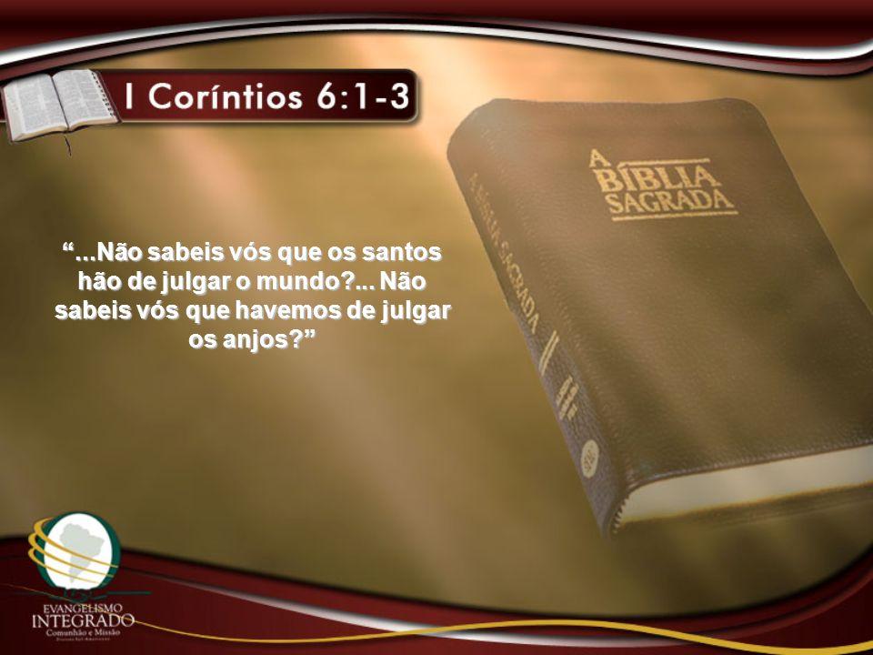 ...Não sabeis vós que os santos hão de julgar o mundo?...