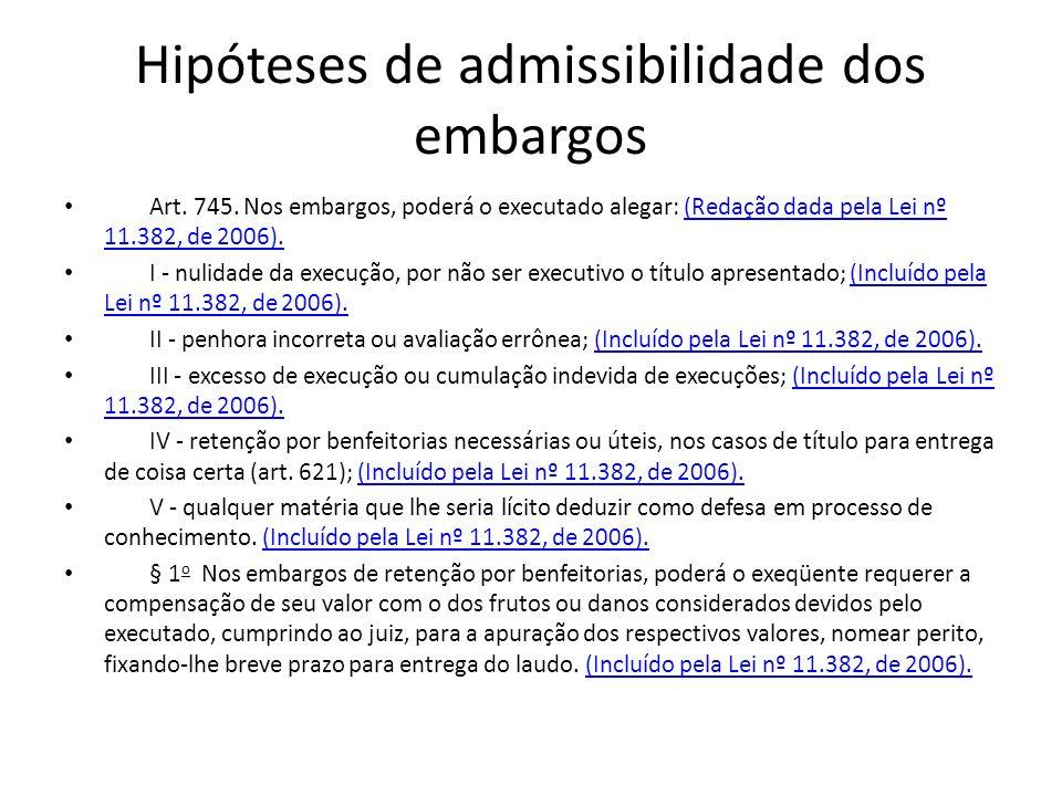 Hipóteses de admissibilidade dos embargos Art. 745. Nos embargos, poderá o executado alegar: (Redação dada pela Lei nº 11.382, de 2006).(Redação dada