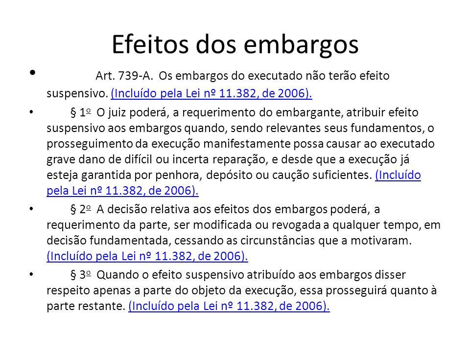 Efeitos dos embargos Art. 739-A. Os embargos do executado não terão efeito suspensivo. (Incluído pela Lei nº 11.382, de 2006).(Incluído pela Lei nº 11
