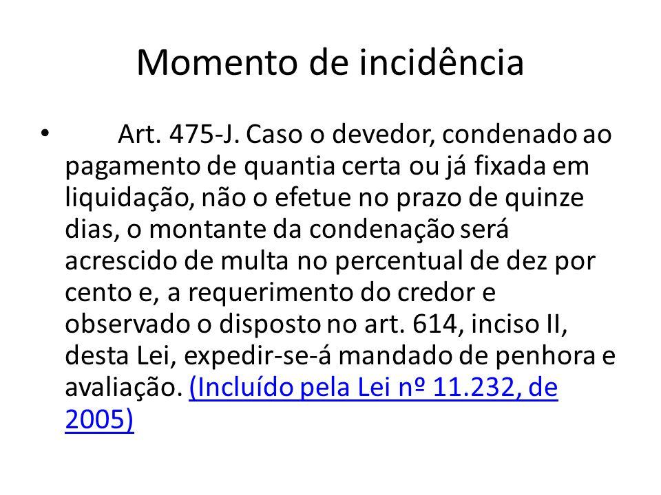 Momento de incidência Art. 475-J. Caso o devedor, condenado ao pagamento de quantia certa ou já fixada em liquidação, não o efetue no prazo de quinze