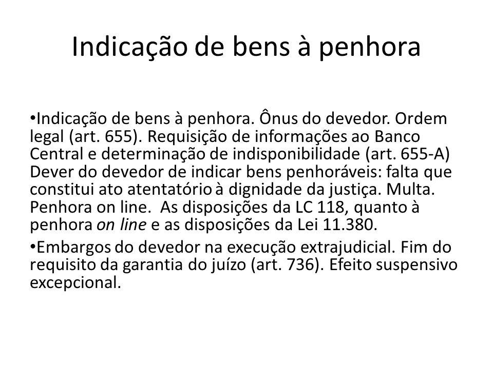 Indicação de bens à penhora Indicação de bens à penhora. Ônus do devedor. Ordem legal (art. 655). Requisição de informações ao Banco Central e determi
