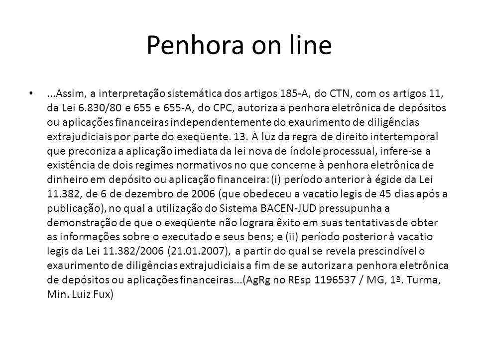 Penhora on line...Assim, a interpretação sistemática dos artigos 185-A, do CTN, com os artigos 11, da Lei 6.830/80 e 655 e 655-A, do CPC, autoriza a p