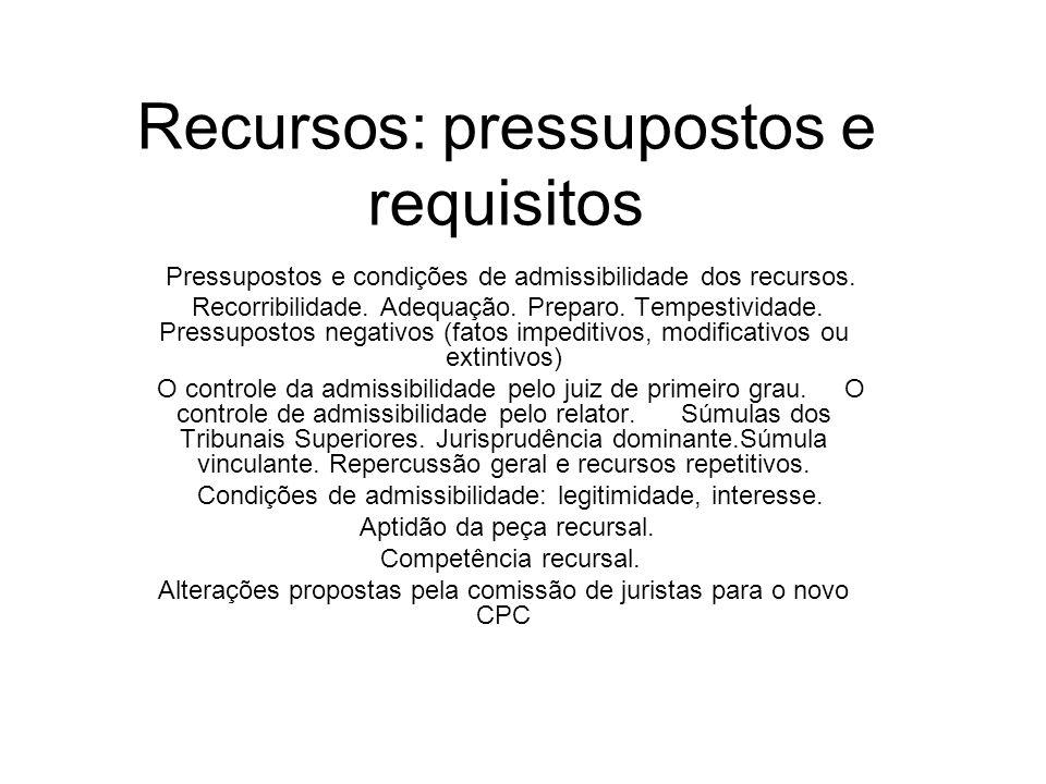 Recursos: pressupostos e requisitos Pressupostos e condições de admissibilidade dos recursos. Recorribilidade. Adequação. Preparo. Tempestividade. Pre