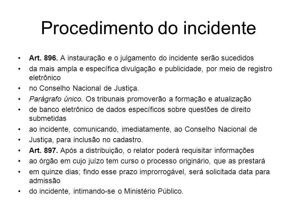 Procedimento do incidente Art. 896. A instauração e o julgamento do incidente serão sucedidos da mais ampla e específica divulgação e publicidade, por