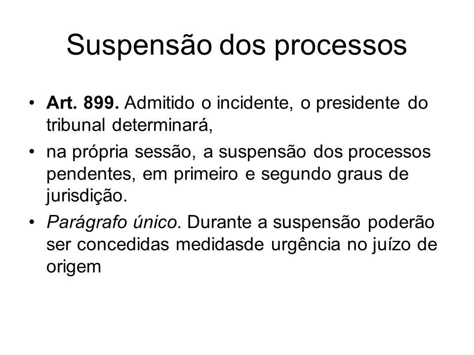 Suspensão dos processos Art. 899. Admitido o incidente, o presidente do tribunal determinará, na própria sessão, a suspensão dos processos pendentes,