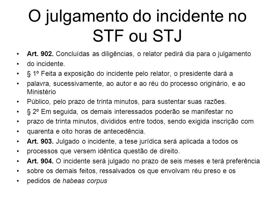 O julgamento do incidente no STF ou STJ Art. 902. Concluídas as diligências, o relator pedirá dia para o julgamento do incidente. § 1º Feita a exposiç