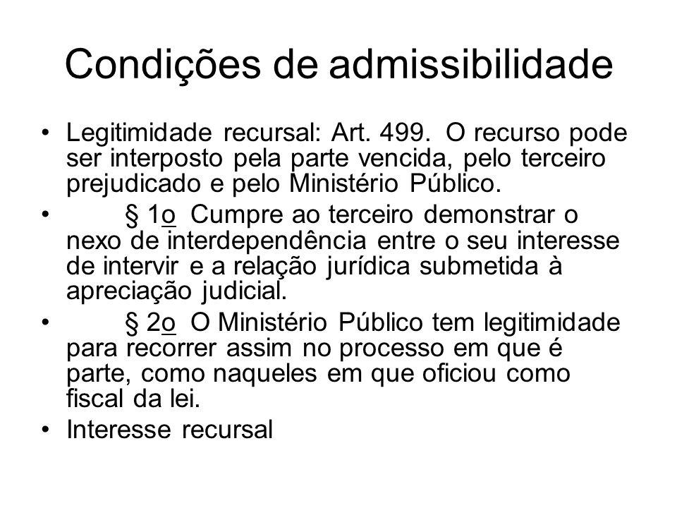 Condições de admissibilidade Legitimidade recursal: Art. 499. O recurso pode ser interposto pela parte vencida, pelo terceiro prejudicado e pelo Minis