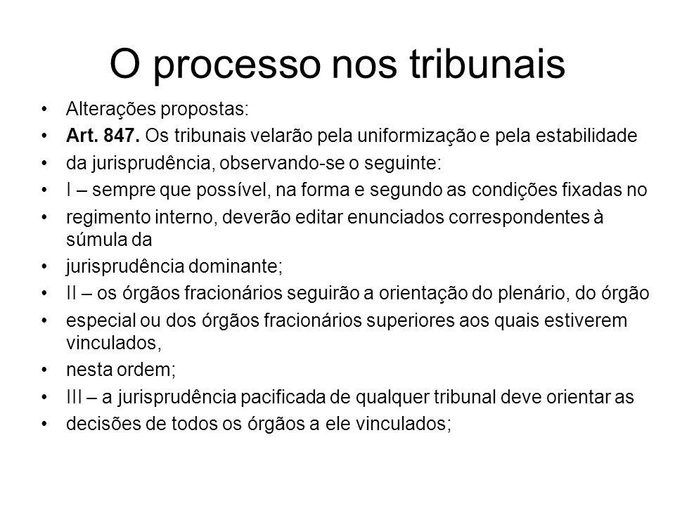 O processo nos tribunais Alterações propostas: Art. 847. Os tribunais velarão pela uniformização e pela estabilidade da jurisprudência, observando-se