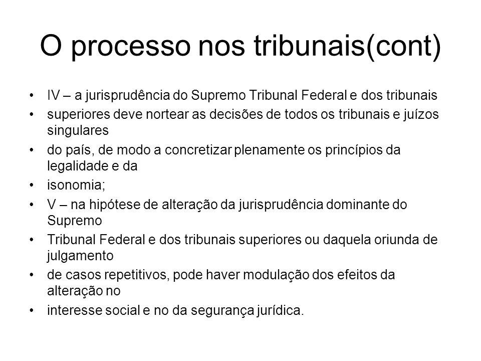 O processo nos tribunais(cont) IV – a jurisprudência do Supremo Tribunal Federal e dos tribunais superiores deve nortear as decisões de todos os tribu