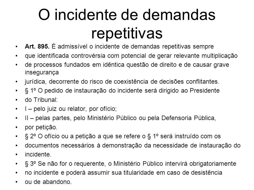 O incidente de demandas repetitivas Art. 895. É admissível o incidente de demandas repetitivas sempre que identificada controvérsia com potencial de g