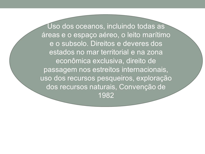 Uso dos oceanos, incluindo todas as áreas e o espaço aéreo, o leito marítimo e o subsolo. Direitos e deveres dos estados no mar territorial e na zona