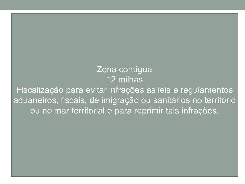 Zona contígua 12 milhas Fiscalização para evitar infrações às leis e regulamentos aduaneiros, fiscais, de imigração ou sanitários no território ou no
