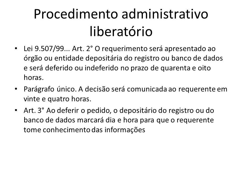 Procedimento administrativo liberatório Lei 9.507/99... Art. 2° O requerimento será apresentado ao órgão ou entidade depositária do registro ou banco