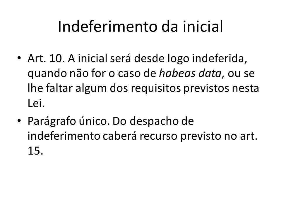 Indeferimento da inicial Art. 10. A inicial será desde logo indeferida, quando não for o caso de habeas data, ou se lhe faltar algum dos requisitos pr