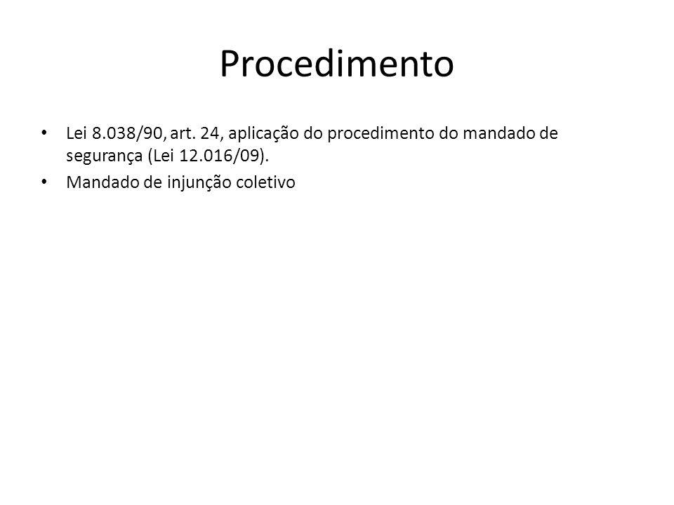 Procedimento Lei 8.038/90, art. 24, aplicação do procedimento do mandado de segurança (Lei 12.016/09). Mandado de injunção coletivo