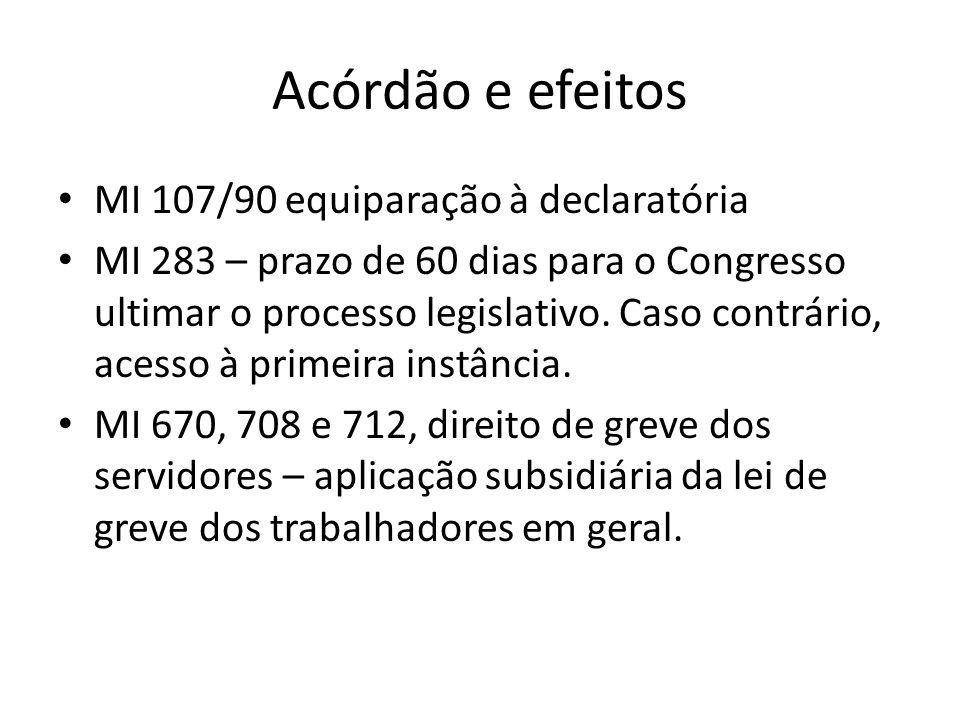 Acórdão e efeitos MI 107/90 equiparação à declaratória MI 283 – prazo de 60 dias para o Congresso ultimar o processo legislativo. Caso contrário, aces