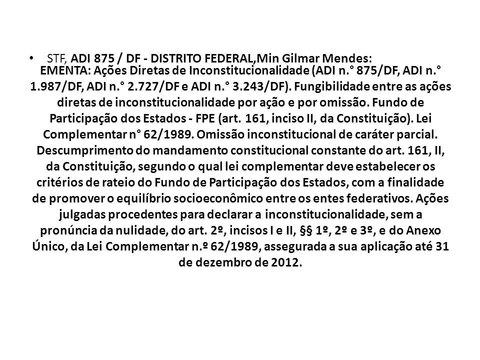 EMENTA: Ações Diretas de Inconstitucionalidade (ADI n.° 875/DF, ADI n.° 1.987/DF, ADI n.° 2.727/DF e ADI n.° 3.243/DF). Fungibilidade entre as ações d