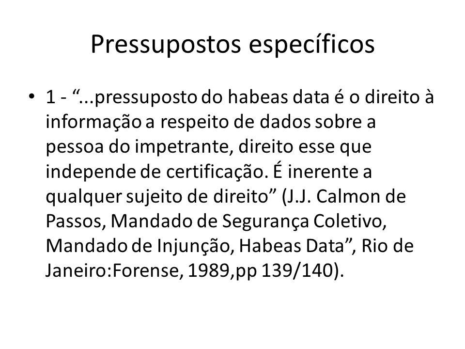 Pressupostos específicos 1 -...pressuposto do habeas data é o direito à informação a respeito de dados sobre a pessoa do impetrante, direito esse que
