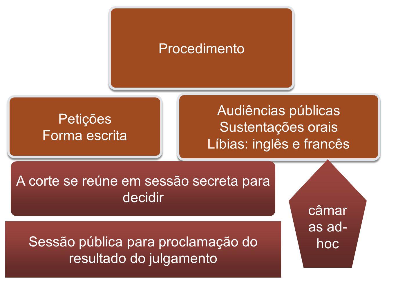 Procedimento Petições Forma escrita Petições Forma escrita Audiências públicas Sustentações orais Líbias: inglês e francês Audiências públicas Sustent
