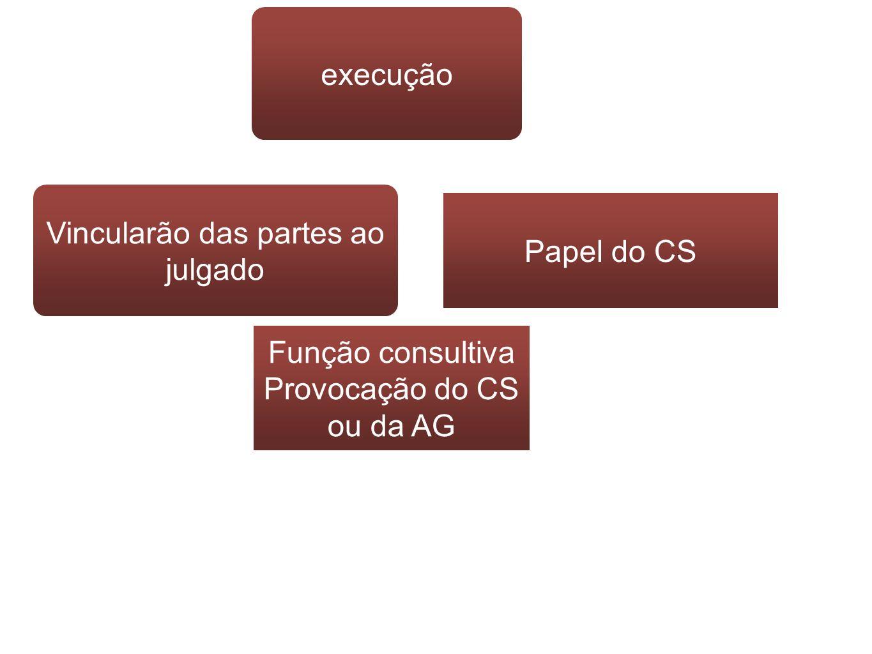 execução Vincularão das partes ao julgado Papel do CS Função consultiva Provocação do CS ou da AG