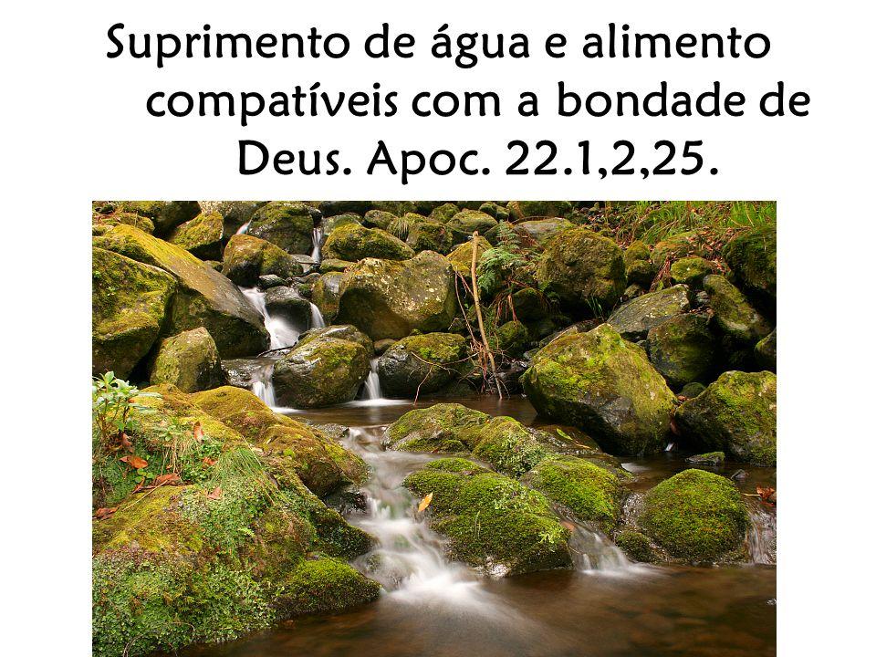 Suprimento de água e alimento compatíveis com a bondade de Deus. Apoc. 22.1,2,25.
