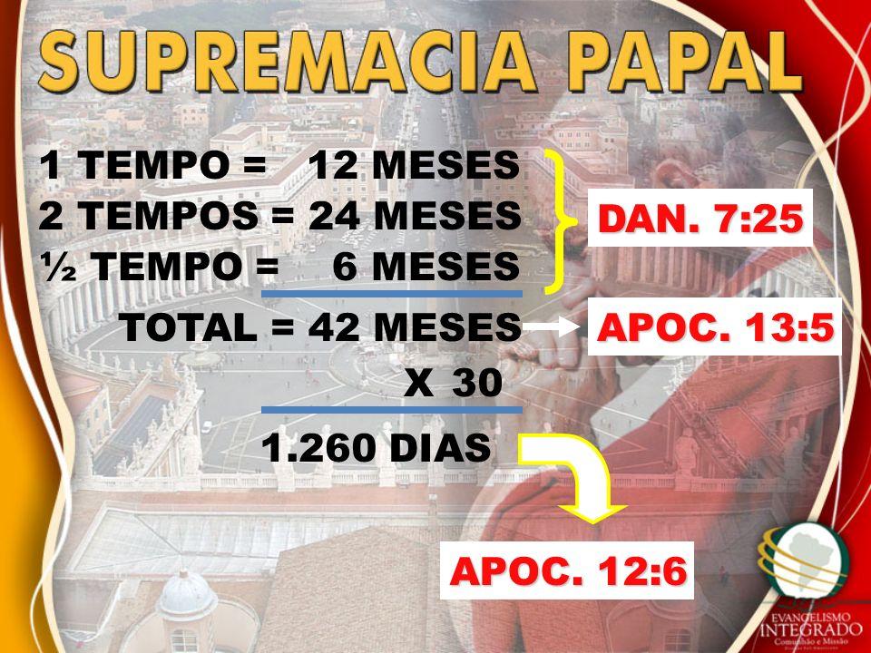 1 TEMPO = 12 MESES 2 TEMPOS = 24 MESES 1.260 DIAS ½ TEMPO = 6 MESES TOTAL = 42 MESES DAN. 7:25 X30 APOC. 13:5 APOC. 12:6