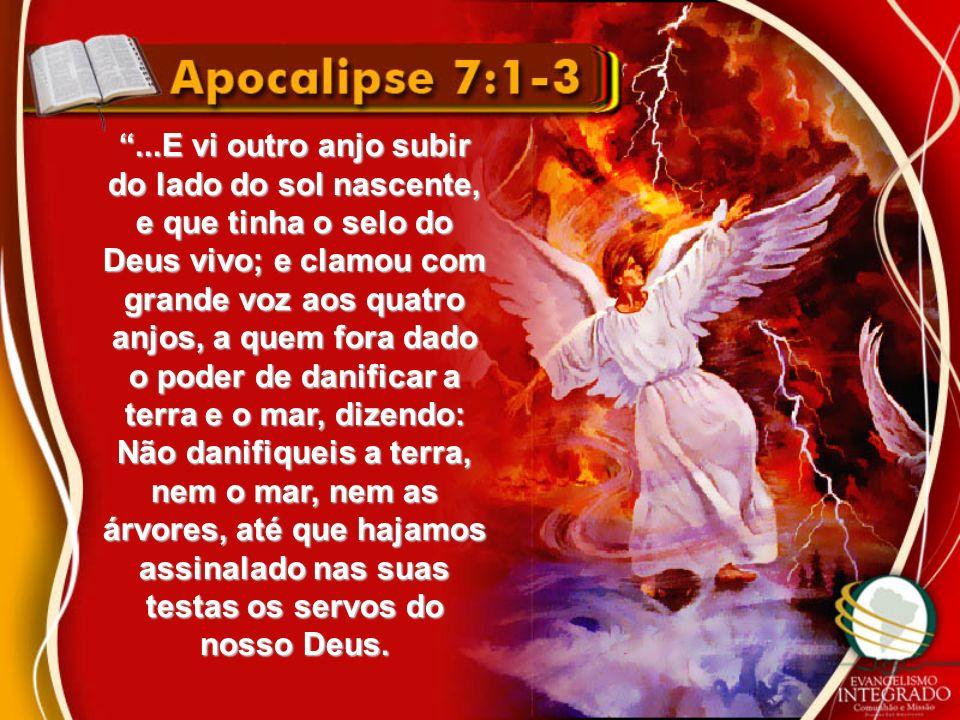 ...E vi outro anjo subir do lado do sol nascente, e que tinha o selo do Deus vivo; e clamou com grande voz aos quatro anjos, a quem fora dado o poder