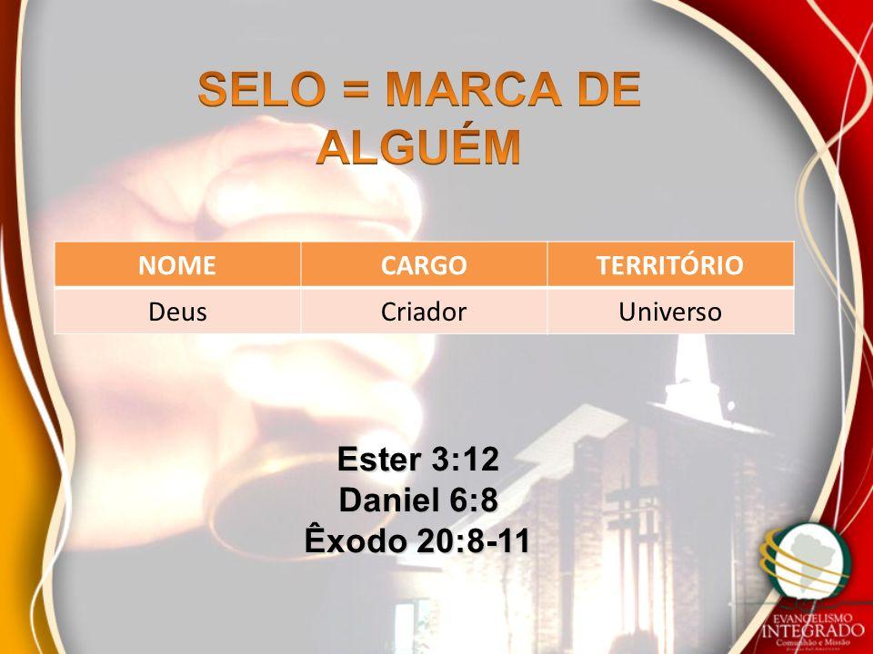 NOMECARGOTERRITÓRIO DeusCriadorUniverso Ester 3:12 Daniel 6:8 Êxodo 20:8-11