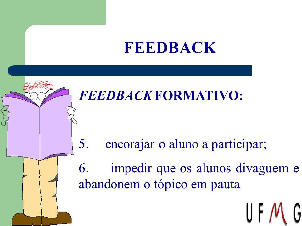 FEEDBACK FEEDBACK FORMATIVO: 5. encorajar o aluno a participar; 6. impedir que os alunos divaguem e abandonem o tópico em pauta