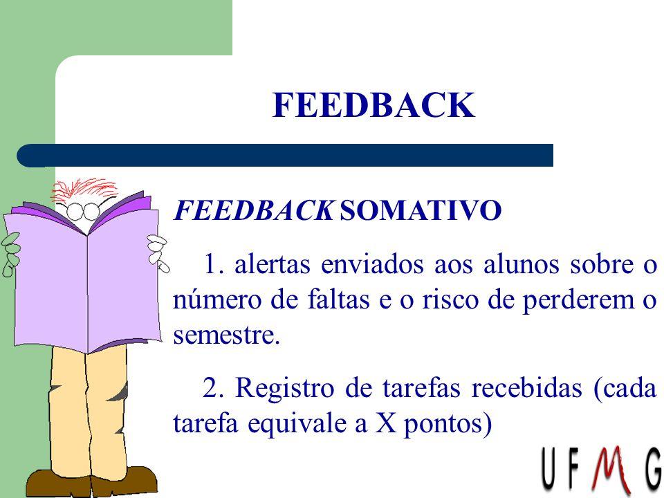 FEEDBACK FEEDBACK SOMATIVO 1. alertas enviados aos alunos sobre o número de faltas e o risco de perderem o semestre. 2. Registro de tarefas recebidas