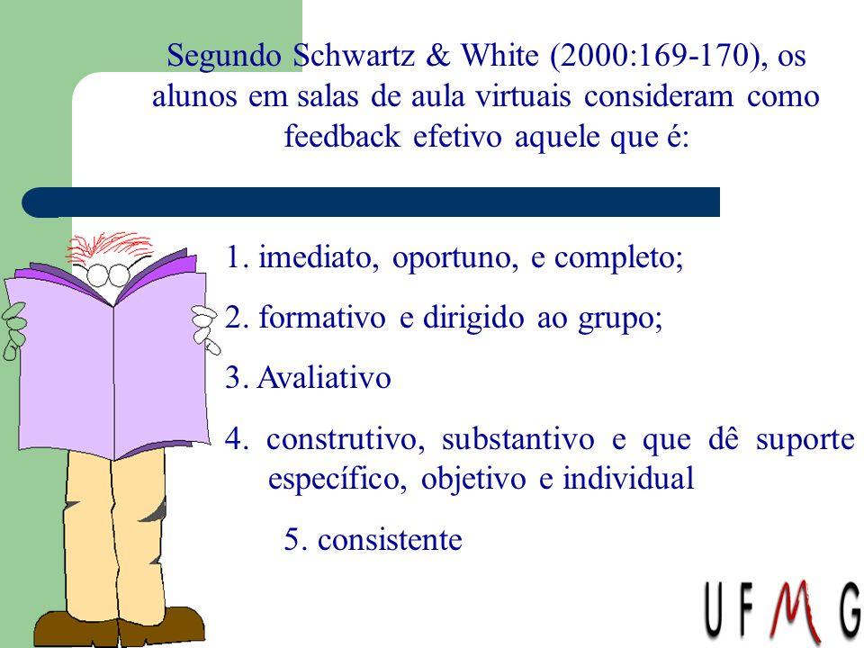 Segundo Schwartz & White (2000:169-170), os alunos em salas de aula virtuais consideram como feedback efetivo aquele que é: 1. imediato, oportuno, e c