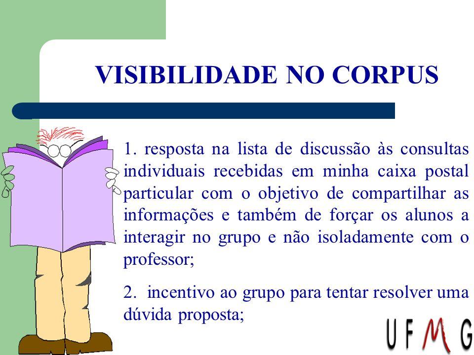 VISIBILIDADE NO CORPUS 1. resposta na lista de discussão às consultas individuais recebidas em minha caixa postal particular com o objetivo de compart