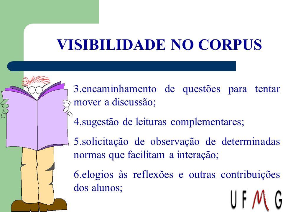 VISIBILIDADE NO CORPUS 3.encaminhamento de questões para tentar mover a discussão; 4.sugestão de leituras complementares; 5.solicitação de observação