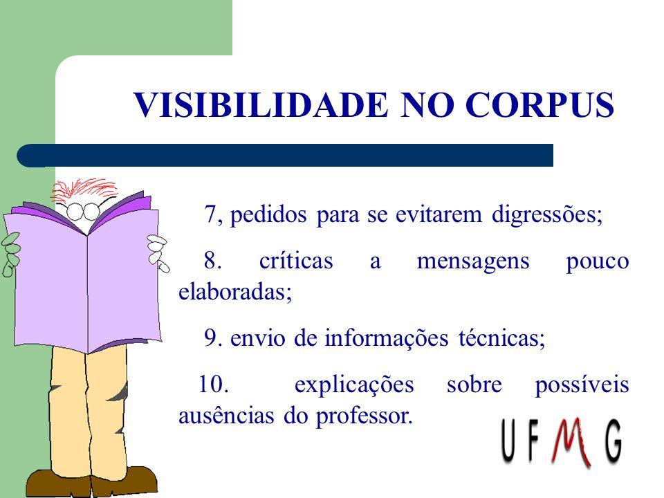 VISIBILIDADE NO CORPUS 7, pedidos para se evitarem digressões; 8. críticas a mensagens pouco elaboradas; 9. envio de informações técnicas; 10. explica