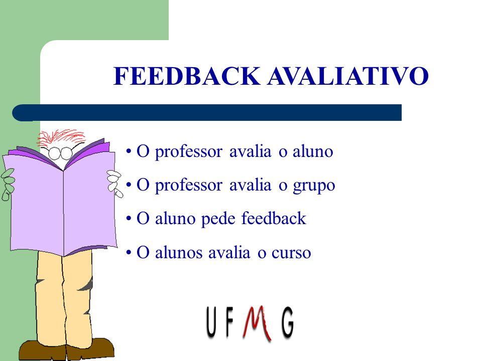 FEEDBACK AVALIATIVO O professor avalia o aluno O professor avalia o grupo O aluno pede feedback O alunos avalia o curso