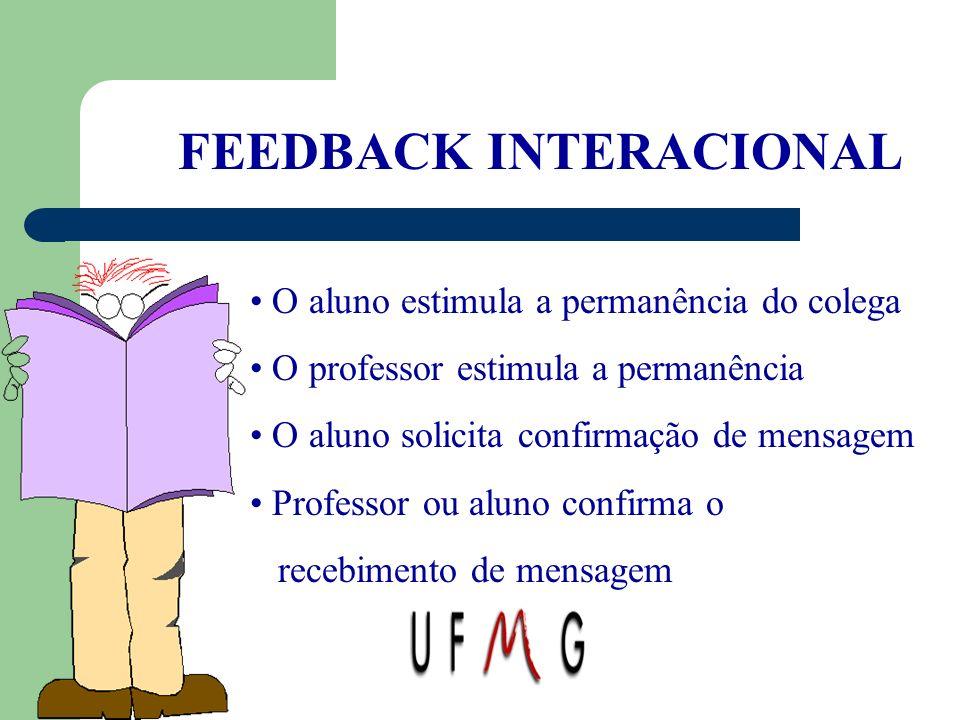 FEEDBACK INTERACIONAL O aluno estimula a permanência do colega O professor estimula a permanência O aluno solicita confirmação de mensagem Professor o