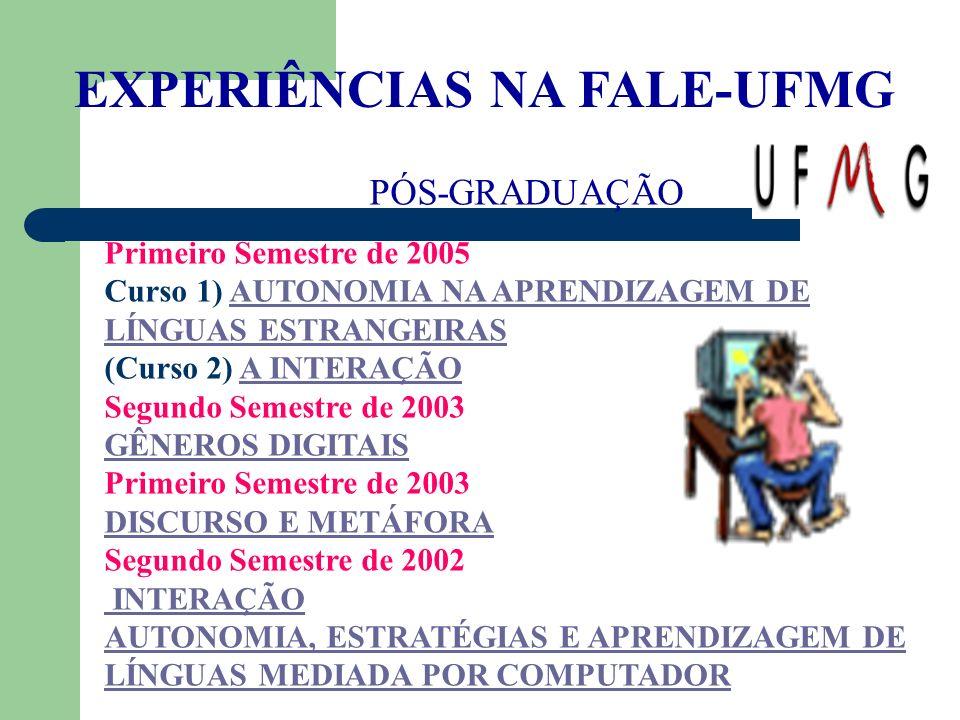 EXPERIÊNCIAS NA FALE-UFMG PÓS-GRADUAÇÃO Primeiro Semestre de 2005 Curso 1) AUTONOMIA NA APRENDIZAGEM DE LÍNGUAS ESTRANGEIRASAUTONOMIA NA APRENDIZAGEM