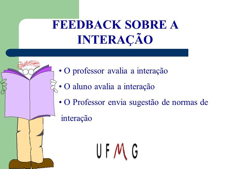 FEEDBACK SOBRE A INTERAÇÃO O professor avalia a interação O aluno avalia a interação O Professor envia sugestão de normas de interação