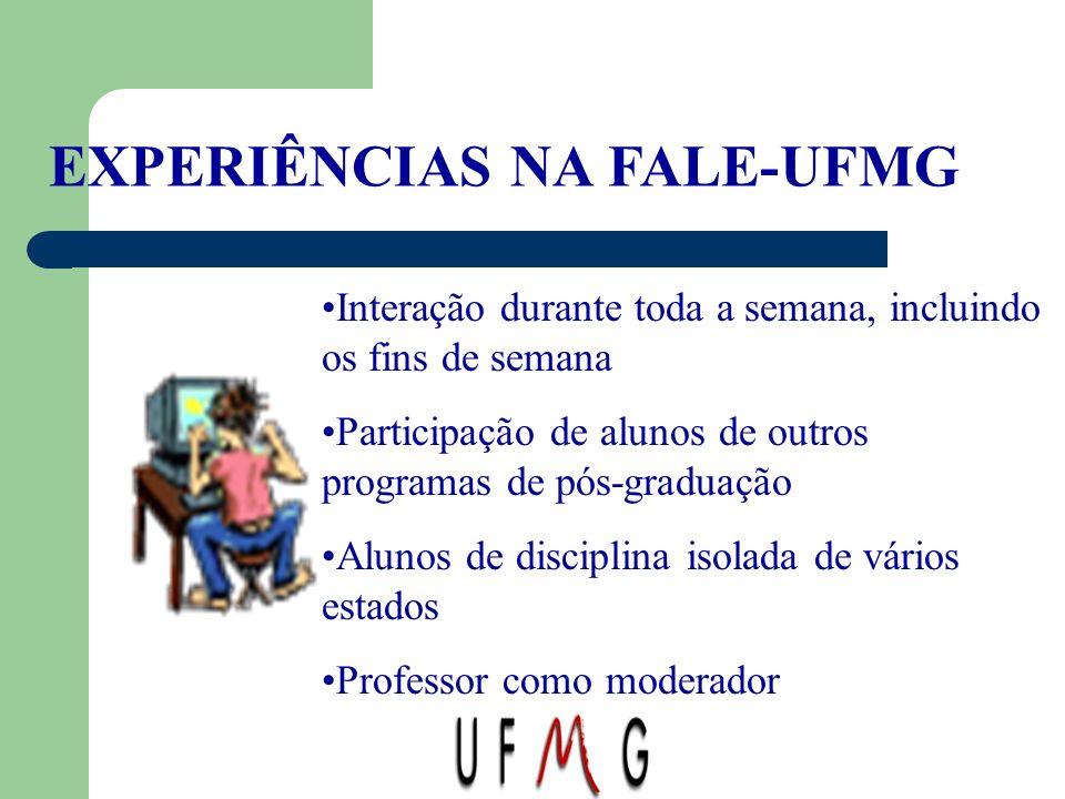EXPERIÊNCIAS NA FALE-UFMG Interação durante toda a semana, incluindo os fins de semana Participação de alunos de outros programas de pós-graduação Alu
